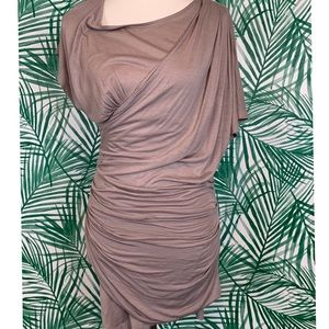 Trouve women's stretchy wrap ruched tunic top m
